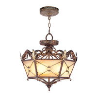 Livex Lighting Bristol Manor 3 Light Pendant/Ceiling Mount in Palacial Bronze with Gilded Accents 8824-64