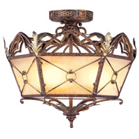 Livex 8824-64 Bristol Manor 3 Light 18 inch Palacial Bronze with Gilded Accents Pendant/Ceiling Mount Ceiling Light alternative photo thumbnail