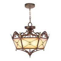 Livex Lighting Bristol Manor 3 Light Pendant/Ceiling Mount in Palacial Bronze with Gilded Accents 8825-64