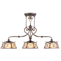 Livex 8828-64 Bristol Manor 3 Light 51 inch Palacial Bronze with Gilded Accents Island Light Ceiling Light