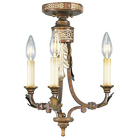 Livex Lighting Bristol Manor 3 Light Pendant/Ceiling Mount in Palacial Bronze with Gilded Accents 8836-64