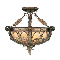 Livex 8843-64 Pomplano 3 Light 20 inch Palacial Bronze with Gilded Accents Pendant/Ceiling Mount Ceiling Light