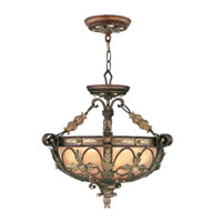 Livex Lighting Pomplano 3 Light Pendant/Ceiling Mount in Palacial Bronze with Gilded Accents 8843-64 alternative photo thumbnail