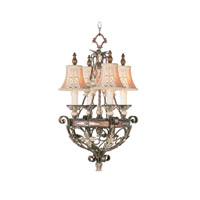 Livex Lighting Pomplano 4 Light Chandelier in Palacial Bronze with Gilded Accents 8844-64