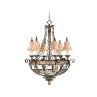 Livex Lighting Pomplano 6 Light Chandelier in Palacial Bronze with Gilded Accents 8846-64