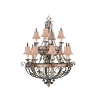 Livex Lighting Pomplano 12 Light Chandelier in Palacial Bronze with Gilded Accents 8848-64