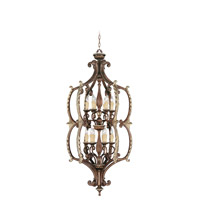 Livex 8866-64 Seville 12 Light 28 inch Palacial Bronze with Gilded Accents Foyer Pendant Ceiling Light