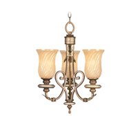 Bristol Manor 3 Light 17 inch Palacial Bronze with Gilded Accents Mini Chandelier Ceiling Light