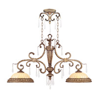 La Bella 2 Light 41 inch Vintage Gold Leaf Island Light Ceiling Light