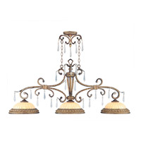 Livex 8883-65 La Bella 3 Light 52 inch Vintage Gold Leaf Island Light Ceiling Light