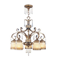 La Bella 5 Light 28 inch Vintage Gold Leaf Chandelier Ceiling Light