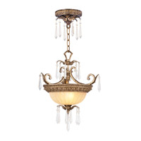 La Bella 2 Light 16 inch Vintage Gold Leaf Pendant/Ceiling Mount Ceiling Light