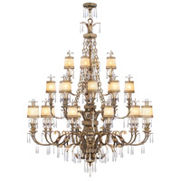 La Bella 24 Light 60 inch Vintage Gold Leaf Chandelier Ceiling Light