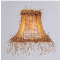 Livex S109 Chandelier Shade Gold Panel Silk Bell Clip Shade with Corn Silk Fringe Shade photo thumbnail
