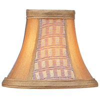 Livex S110 Chandelier Shade Gold Panel Silk Bell Clip Shade with Corn Silk Fringe Shade
