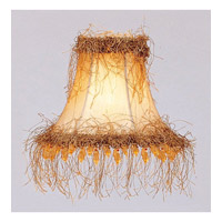 Chandelier Shade Champagne Silk Bell Clip Shade with Light Corn Silk Fringe and Beads Shade