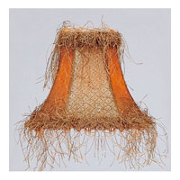 Chandelier Shade Tan/Brown Suede Bell Clip Shade with Corn Silk Fringe Shade