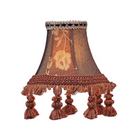 Livex S124 Chandelier Shade Burgundy Floral Bell Clip Shade with Tassels Shade photo thumbnail