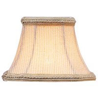 Chandelier Shade Cream Pinstripe Square Clip Shade with Fancy Trim Shade