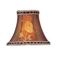 Chandelier Shade Burgundy Floral Panel Bell Clip Shade with Fancy Trim Shade
