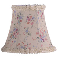 Chandelier Shade Cream Floral Print Bell Clip Shade with Fancy Trim Shade
