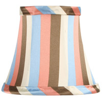 Livex S303 Chandelier Shade Multi Color Striped Silk Bell Clip Shade Shade