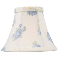 Chandelier Shade White with Blue Floral Print Silk Bell Clip Shade Shade