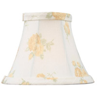Livex S324 Chandelier Shade White with Peach Floral Print Silk Bell Clip Shade Shade