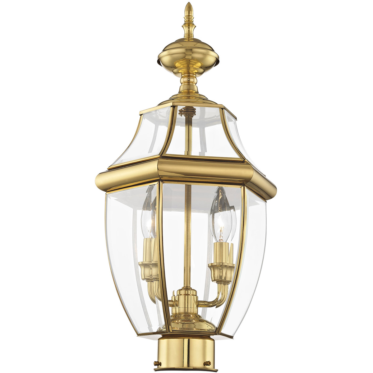 Livex Lighting 2254-01 Monterey 2 Light Outdoor Antique Brass Finish Solid Brass Post Head with Clear Beveled Glass