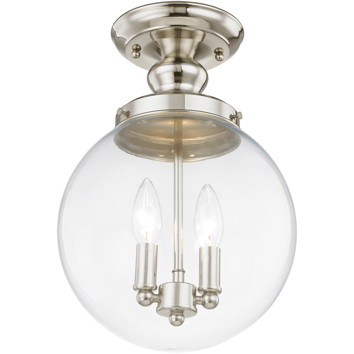 Livex Lighting 50481-35 Polished Nickel Flush Mount with Clear Glass