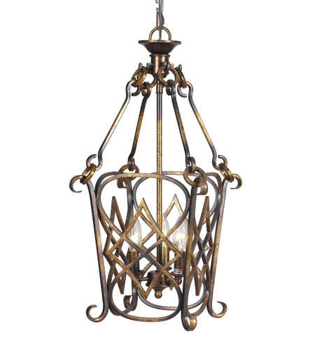 Mariana 980025 Signature 3 Light 12 inch Torched Copper Foyer Lantern Ceiling Light photo