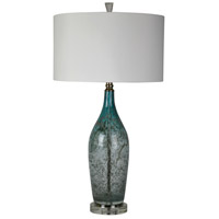 Deidra 32 inch 150 watt Blue/Gray Metallic Art Glass Table Lamp Portable Light