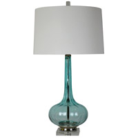Felicity 30 inch 150 watt Blue Art Glass Table Lamp Portable Light