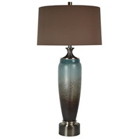 Delaney 37 inch 150 watt Blue/Brown Art Glass Table Lamp Portable Light