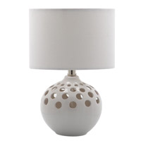 Signature 14 inch 60 watt White Ceramic Table Lamp Portable Light