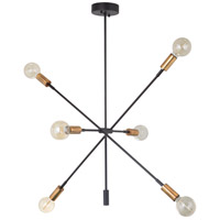 Mariana 150674 Ellis 6 Light 30 inch Bronze and Brass Chandelier Ceiling Light