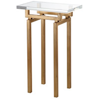 Mariana 152027 Jaxon 13 X 8 inch Gold Leaf Side Table Home Decor, Glass Top