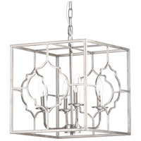 Cassandra 4 Light 13 inch Silver Leaf Pendant Ceiling Light