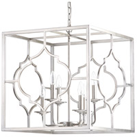 Cassandra 6 Light 20 inch Silver Leaf Pendant Ceiling Light