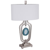 Dorie 32 inch 150 watt Satin Nickel/Agate Stone Table Lamp Portable Light