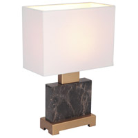 Oliver 15 inch 60 watt Marble/Brass Table Lamp Portable Light