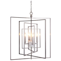 Silus 4 Light 30 inch Satin Nickel/Alabaster Pendant Ceiling Light