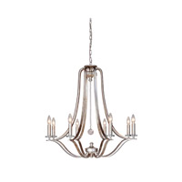 Signature 8 Light 31 inch Antique Silver Leaf Chandelier Ceiling Light