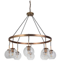 Mariana 300842 Fortune 8 Light 38 inch Antique Brass Pendant Chandelier Ceiling Light