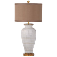 Lydia 33 inch 150 watt White/Taupe/Gold Leaf Table Lamp Portable Light