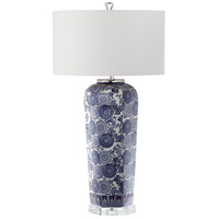 Mia 33 inch 150 watt Blue/White Pattern Table Lamp Portable Light