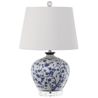 Chelsey 20 inch 150 watt Blue/White Floral Pattern Table Lamp Portable Light