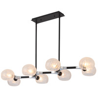 Mariana 450885 Knowles 8 Light 51 inch Black and Chrome Island Pendant Ceiling Light