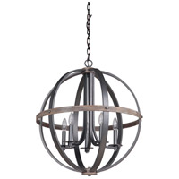 Mariana 470056 Portland 5 Light 24 inch Wood and Aged Iron Pendant Chandelier Ceiling Light