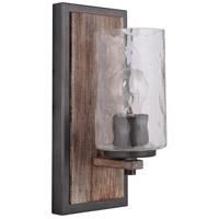 Mariana 470156 Portland 1 Light 5 inch Wood and Aged Iron Wall Sconce Wall Light